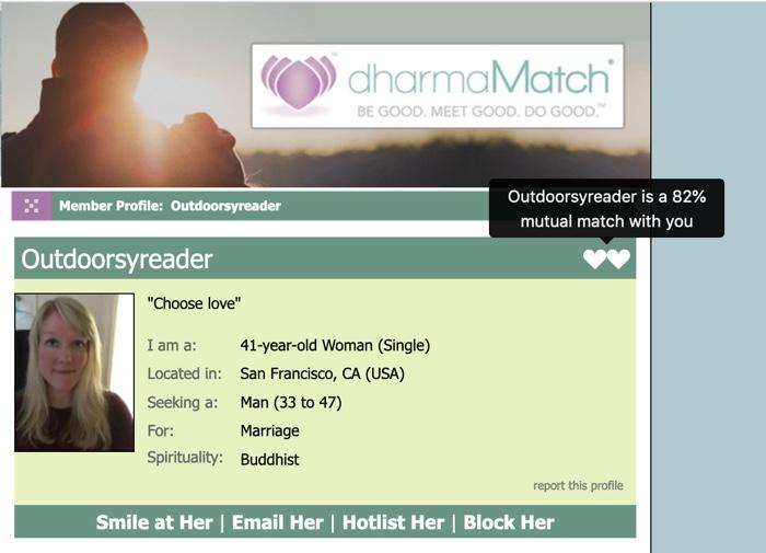 mutual match on profile page