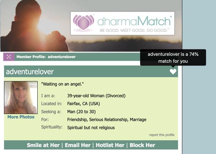 1-way match on profile page