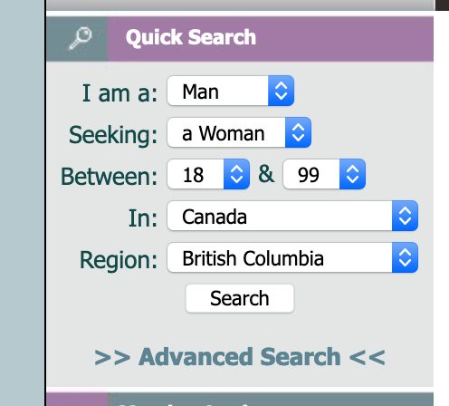 New Quick Search - Canada Regions
